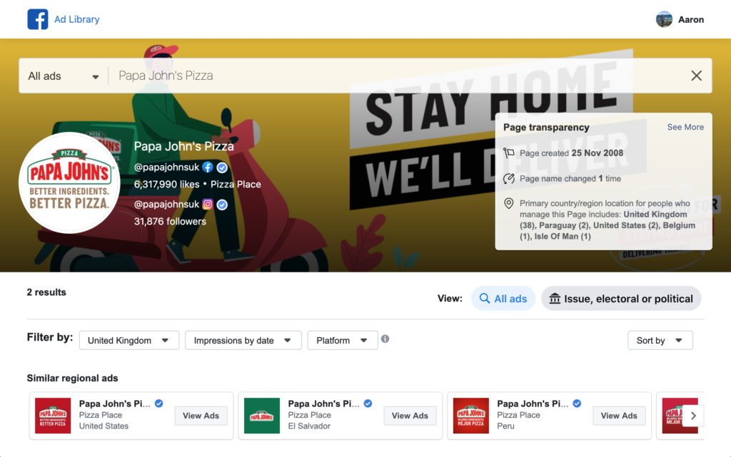 Papa Johns Pizza ads showing on facebook